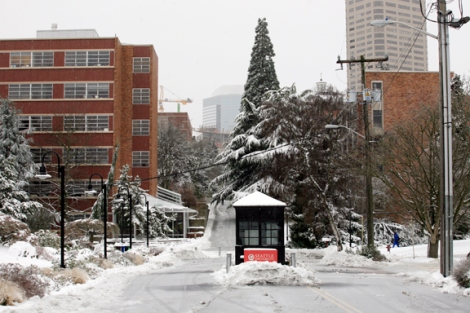 Seattle University campus during the January snowstorm. Image by Chris Joseph Taylor.