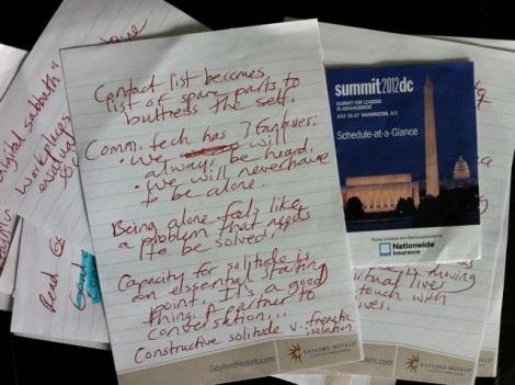 My handwritten notes, taken during Sherry Turkle's talk.