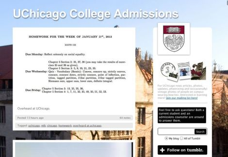 Screenshot of the University of Chicago's Tumblr.