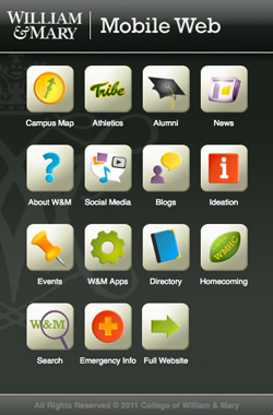 William & Mary mobile web