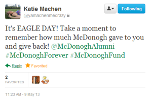Another great Tweet from a young alum encouraging others to give on Eagle Day!