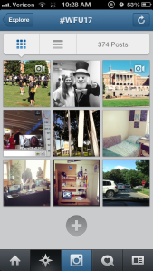 Screenshot of #wfu17 Instagrams