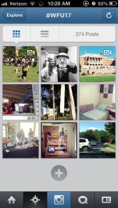 Screenshot of #wfu17 Instagrams