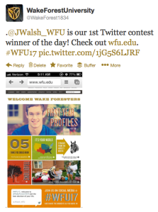 Screen Shot of #wfu17 Twitter contest winner