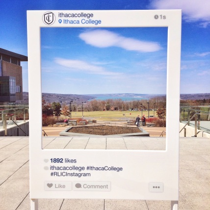 Ithaca College Instagram sign overlooking Cayuga Lake.