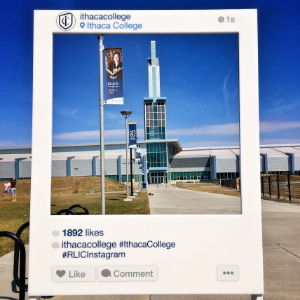 Ithaca College Instagram Sign overlooking the Athletics and Events Center.