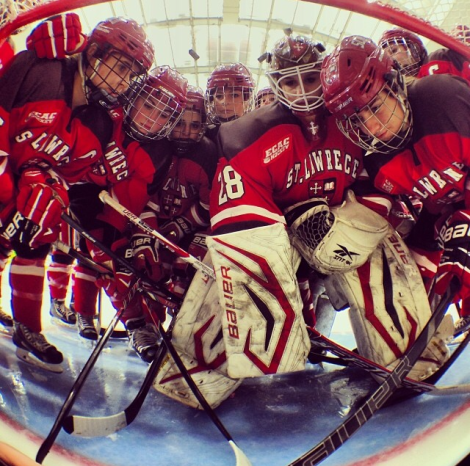 When a member of SLU's women's hockey team took over Instagram, she captured the starters meeting at the net just before the puck dropped for the big game.