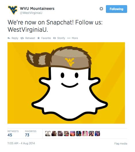 WVU on Snapchat