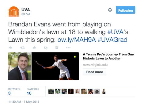 A screenshot of a tweet about U.Va. student Brendan Evans.