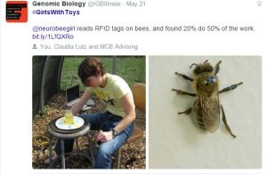 The Carl R. Woese Institute for Genomic Biology posted a photo of a researcher tagging bees with RFID tags, which led to further online conversation about university research.