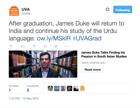 A screenshot of a tweet about U.Va. student James Duke.