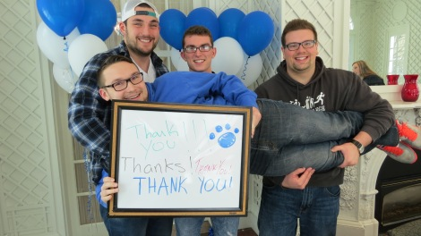 Students say thanks for the photo shoot.