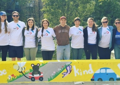 Volunteers from the New York City UK Alumni Club joined forces with the New York Cares Foundation to help rejuvenate a local public school (October 17, 2015)